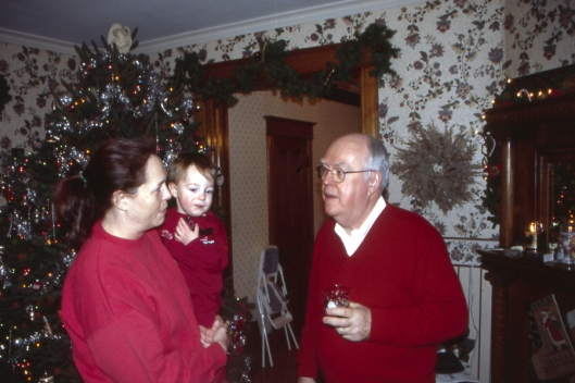 Julie, Max & Grandpa Christmas Day 2003 in Michigan.