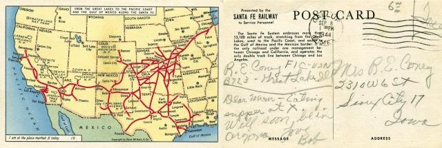 Vintage Santa Fe Railway map postcard.