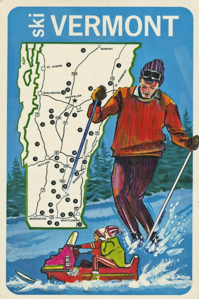 "Vintage ""Ski Vermont"" 1970's postcard. © collection of Joe Geronimo"
