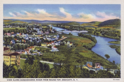 "Early 1900's vintage linen postcard of ""Round Top"" Endicott, NY."