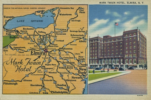 "Vintage linen ""Map"" postcard of the Mark Twain hotel Elmira, NY."
