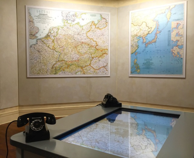 "Depiction of a top secret ""Map Room"" during World War Two"