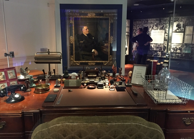 In the Presidential Library sits Franklin's desk from the Oval Office. The desk was Herbert oover's and Franklin never changed the furnishings once taking office. However the trinkets on the desk are Franklin's and exactly the originals.