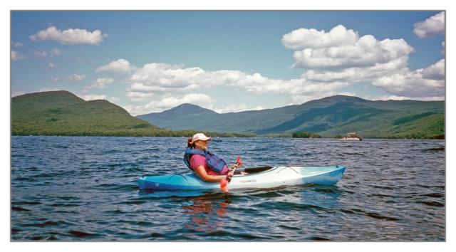 Julie kayaking on Lake George near Bolton Landing in August 2013.