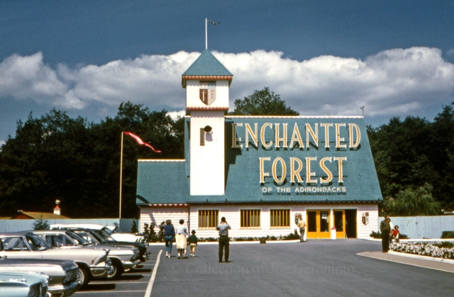 """Front entrance of """"Enchanted Forest of the Adirondacks"""" Old Forge, NY early 1960's. Image © Collection of Joe Geronimo."""