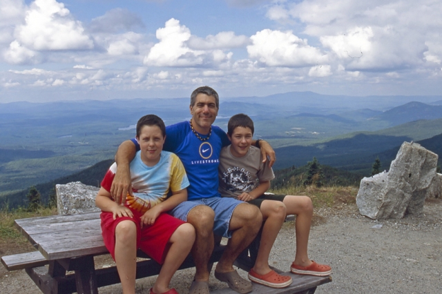 The boys and I along Whiteface Mountain Memorial Highway in August 2012.