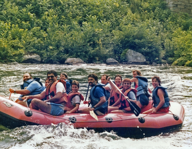 Whitewater rafting August 15th 1985. © Collection of Joe Geronimo