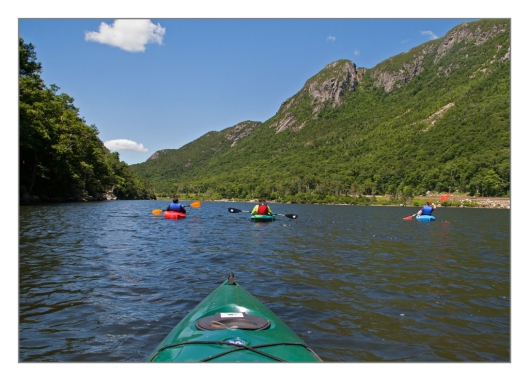 With new paddle in hand we are on Profile lake in Franconia Notch State Park the next day July 11th 2014. © Joe Geronimo