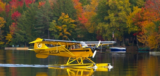 While chatting with David Patterson this plane had just landed on 6th Lake. October 5th 2016 Inlet, NY. Image © Joe Geronimo