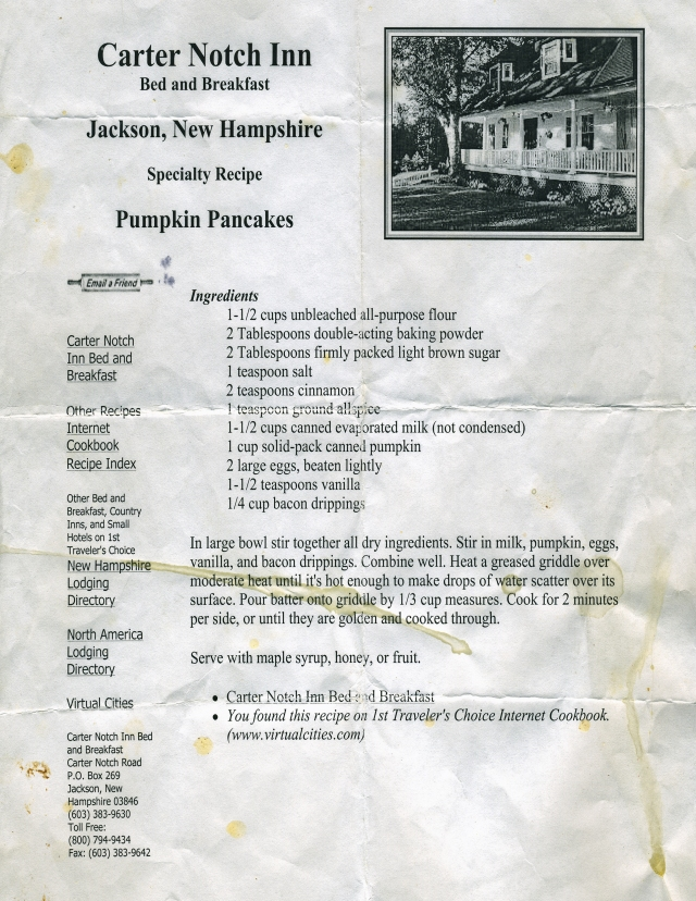 Our well used pumpkin pancake recipe.