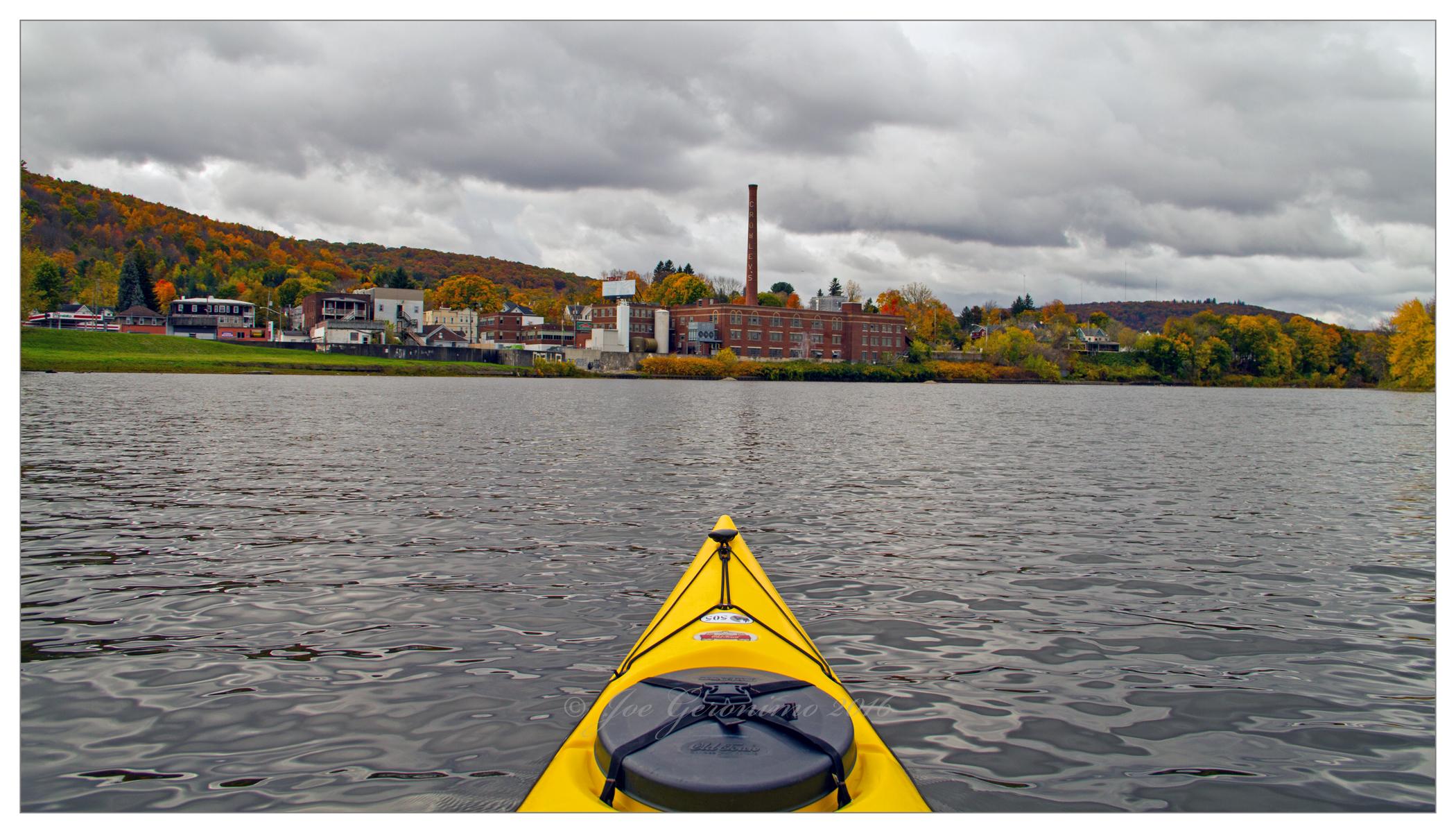 "The former Crowley's Milk plant and approaching ""Rock Bottom"" dam along the Susquehanna river Binghamton, NY October 26th 2016. Image © Joe Geronimo"
