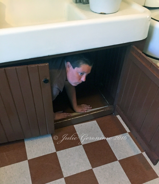 Max under the kitchen sink, Christmas Story House, Cleveland, OH July 10th 2016. © Julie Geronimo