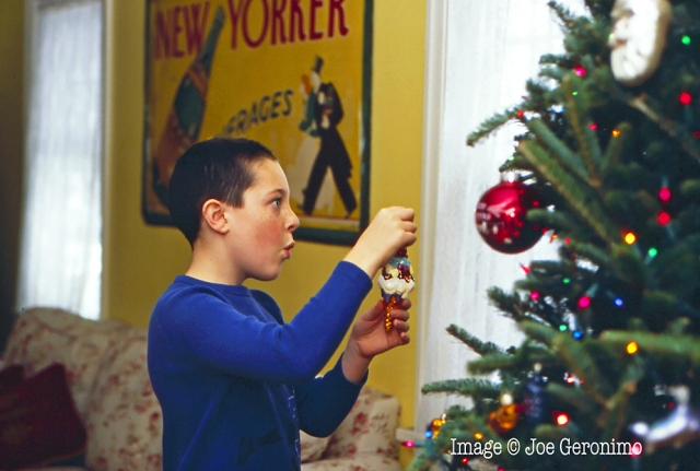 Max helping with the Christmas tree decoration. Kodak Ektachrome 100, © Joe Geronimo